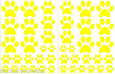 YELLOW PAW PRINTS-2 sheets total of 44 pieces VINYL WALL DECAL STICKER DOG CAT