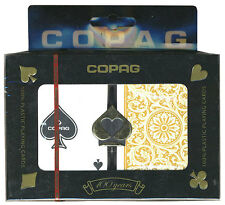 "COPAG ""1546"" BLACK & GOLD PLASTIC PLAYING CARDS 2 POKER DECKS REGULAR INDEX *"