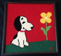 """Snoopy With Flower Vintage Needlepoint Completed & Framed 11"""" Bright And Fun!"""