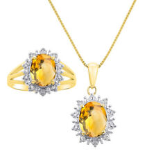 Princess Diana Inspired Halo Diamond & Citrine Matching Pendant Necklace and Ri