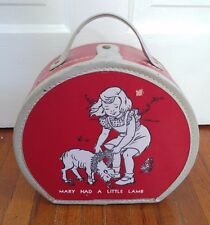 "Vintage Round Child's Travel Suitcase ""Mary Had a Little Lamb"" (Red)"