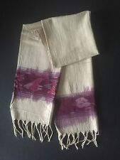HAND WOVEN MULTICOLOR COTTON MENS GUATEMALAN IKAT LONG WIDE DESIGNER SCARF