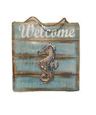 Wood Decor Sign Welcome Beach Home Decor Nautica Vintage Seahorse