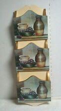Vtg Wooden Mail letter bill Holder Wall Hanging Organizer Three Slot kitchen