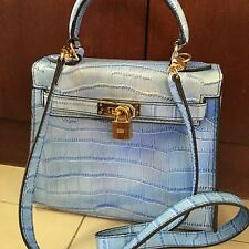 Baby blue, hand made, leather purse