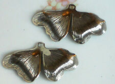 #1408 Vintage Leaf Drops Art Nouveau Connectors Dangle Gun Metal Silver Stamped