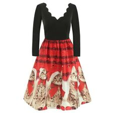 Christmas Women XMAS Dress Musical Notes Cats Flare Dress Evening Party Dresses