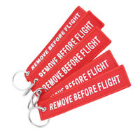 Remove Before Flight Tags Keychain Keyring Rectangle Embroidery Message 13*3CMSF