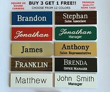 1X3 EMPLOYEE PERSONALIZED NAME TAG BADGE PIN CUSTOMIZED IDENTIFICATION ENGRAVED