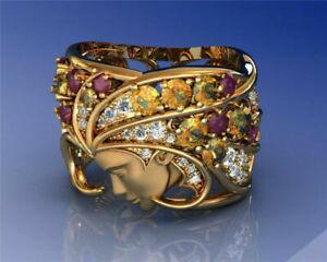 Gorgeous Women 18K Gold Filled Rings White Sapphire Ruby Wedding Jewelry Sz 6-10