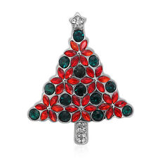 ION Plated Crystal Christmas Tree Brooch Birthday Jewelry Gift For Women