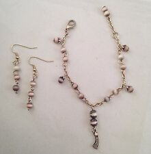Handmade Lavender Grey Cat's Eye Stones w Comet Charm Bracelet Earrings Set