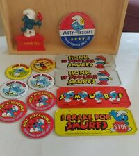 SMURFS MOBILYA metal license plates from the 80's & political bottons