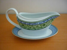 "WEDGWOOD HOME ""WATERCOLOUR"" FINE PORCELAIN OVEN SAFE GRAVY BOAT WITH UNDER PLATE"
