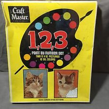 DIY Paint By Number Set Green Eyed Kittens Two 8X10 Pictures VTG Kitsch