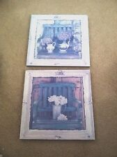 Set of (2) Square Heavy Wood Country French Design  Floral Hanging Wall Plaques