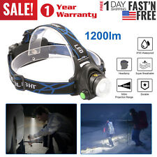 HEAD TORCH 1200Lm T6 Zoomable XML LED Rechargeable Headlamp Headlight 18650