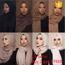 6x3 FT Cotton Women Viscose Maxi Crinkle Cloud Hijab Scarf Shawl Islam Muslim