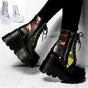 Ladies Ankle Boots Womens Goth Punk Lace Up Chunky High Heel Platform Shoes Size