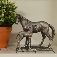 More details for antique effect silver foal and mare horses sculpture statue ornament gift