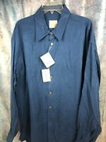 NEW XXL STUBBS STONEWASH BLUE BANDED COLLAR Cowboy Western Shirt Tencel