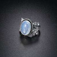 Hot Sale Rainbow Moonstone Ring Solid Silver Plated Handmade Jewelry Size 6-10