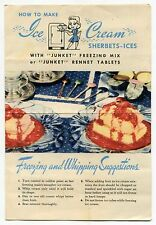 """1942 """"Junket"""" Ad Brochure: """"How To Make Ice Cream Sherbets-Ices"""""""