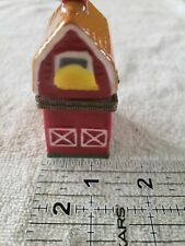 Porcelain Mini Barn Shaped Hinged Trinket Box