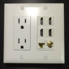 HDTV 2 GANG Wall Plate Outlet 15A 125V 4x HDMI 1x CAT6/CAT5E 1x F Type Coax