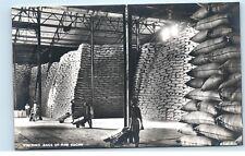 *Sugar Mill Factory Workers Stacking Bags Raw Sugar Fiji Vintage Postcard C51
