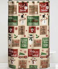 Bed Bath & Beyond Winter Snowman Holiday Vintage Signs Shower Curtain & Hooks