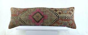 Kilim Pillow Cover 12x36 Handmade Bohemian Ethnic Rug Anatolian Long Lumbar 2790