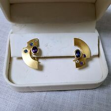 18K YELLOW GOLD and PURPLE & BLUE SAPPHIRE HANDCRAFTED EARRINGS by JEWELSMITH