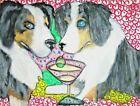 AUSSIE Australian Shepherd dog portrait 11 x 14 PRINT of pop folk art Painting