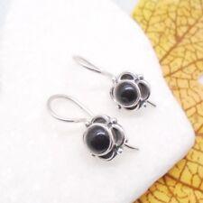 Onyx Blüte Blume schwarz gothic rund Ohrringe Ohrhänger 925 Sterling Silber neu