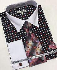 Men's Multi Polka Dot Daniel Ellissa's Shirt with Tie Hanky Cufflinks Set