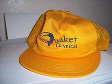 Quaker Chemical Trucker Hat Cap Yellow Snap Back Crown