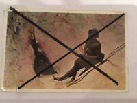 VINTAGE COLOUR POSTCARD ABORIGINAL MAN With Spears Emu Leg Waterhole Ayers Rock
