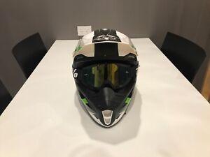 Motocross MT Helmet XL MX (White & Green)