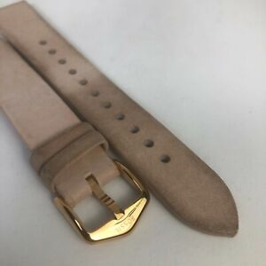 Fossi 18mm Pale Pink Leather Rubber Rose Gold Buckle Watch Band Strap FTW6030SET