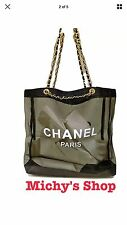 CHANEL Black Mesh Shopping Travel Tote bag Leather Chain VIP Gift USA SELLER