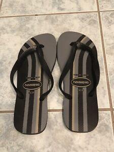 New Havaianas Men's Flip Flop Sandal, Gray & Black, Size USA 11/12M, EUR 45/46