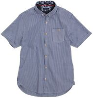 Men's Brave Soul Clement - S/S Fine Checked Shirt Navy/White Medium