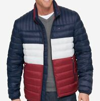 Tommy Hilfiger Men's Packable Down Jacket - Navy/White/Red - M