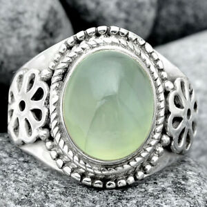 Artisan - Natural Prehnite 925 Sterling Silver Ring s.7.5 Jewelry 9363