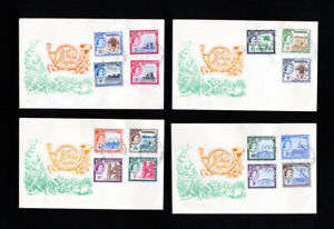 Gambia w/ Stamps #153-67 on 4x matched Cachet FDC