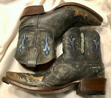 Lucchese Stonewashed Sky Blue Leather Short Boots (DV3002 X/3) Size 9B