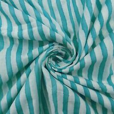 Indian Blue Striped Vegetable Color Cotton Fabric Dressmaking By The Yard Fabric
