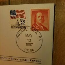 1787 franklin receives delegates us. constitution bicentennial covers stamp