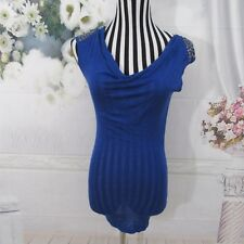 Bebe Blue Tank top Studs Sheer Blouse Size S